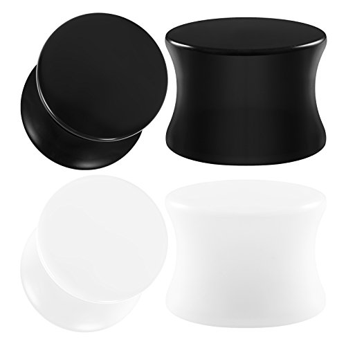 crylic 1/2 inch Gauge 12mm Black White Double Flared Solid Piercing Ear Stretcher Plugs Flesh Earring Lobe BG0760 ()