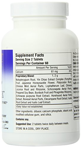 Planetary Herbals Yin Chiao-Echinacea Complex 600mg, Chinese Compound for Immune Support, 120 Tablets Pack of 2