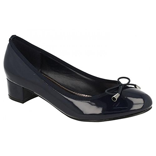 Ladies Spot Heel With Manmade Womens Bow Navy Court On Mid Shoes Elastic pEE4qwBW