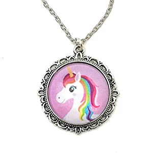 Pink Rainbow Unicorn Necklace – Handmade
