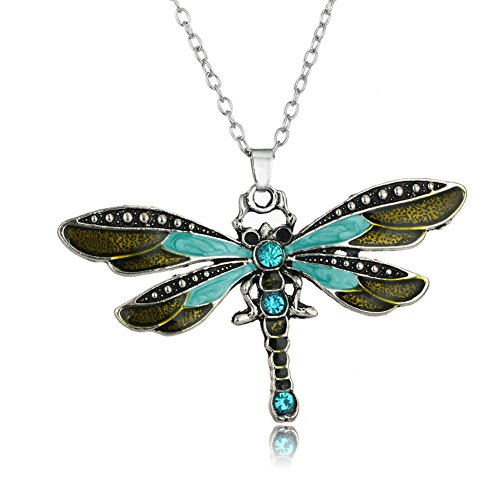 Aysekone Fashion Vintage Bohemian Pendant Statement Necklace Ethnic Jewelry Chain Crystal Enamel Dragonfly NecklaceGreen
