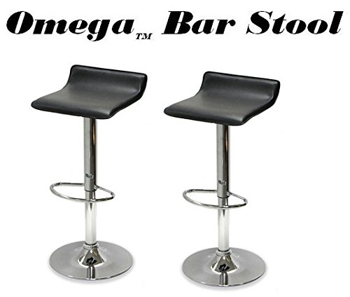 Coaster Home Furnishings 120390 Contemporary Adjustable Bar Stool, Chrome/Black, Set of 2 (Lane Leather Furniture)