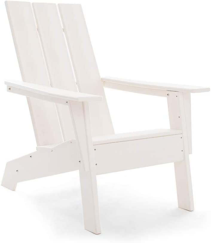 Resin TEAK HDPE Poly Lumber Modern Adirondack Chair | Adult-Size, Weather Resistant for Patio Deck Garden, Backyard & Lawn Furniture | Easy Maintenance | New 2021 (White)
