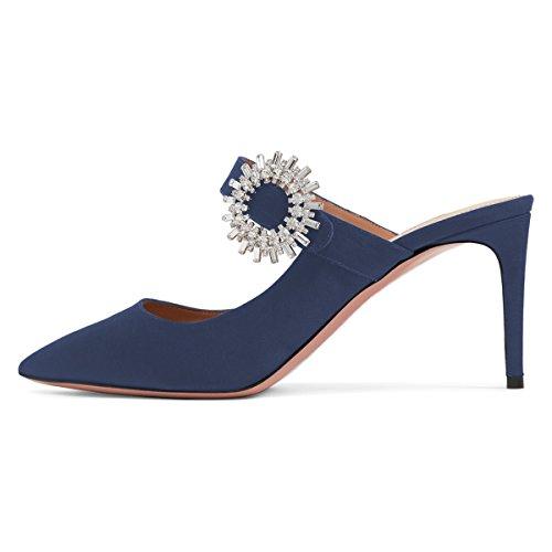 Slide High Blue On Slipper Toe Xyd Pumps Slip Buckle Pointed Rhinestone Heel Mule Women Deep Sandals U8aqI