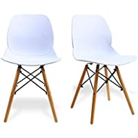 Modern Dining Chairs by Santang Eames Style DSW Side Chairs,White 300lbs Capacity Mid Century Eames Chairs18 Seated Height,Sturdy Wooden legs,For Dining Room Chairs Set of 2