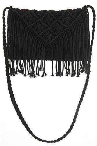Para Negro Bolsa Forma Flecos Mujer De Decoración Raquetas Diamantes Nudo Tenis Brillantes Con Diseño TqTSwr1