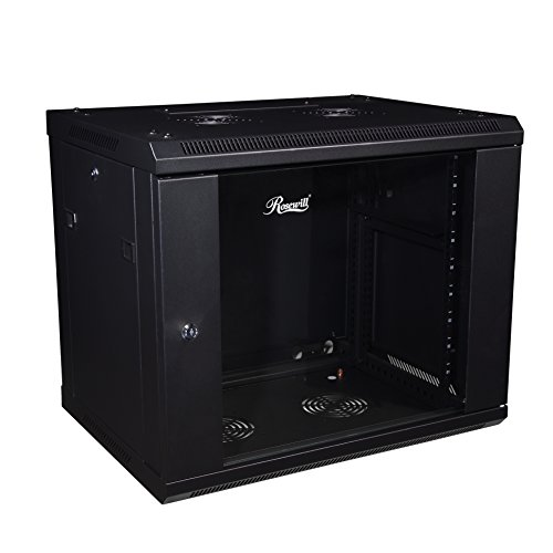 Rosewill Professional 9U Wall mount Cabinet Enclosure 19-Inch Server Network Rack With Locking Glass Door 16-Inches Deep Black (RSWM-9U001) ()