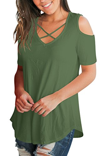 e48a5372e97fd2 SLMMING GRIL Summer Women T Shirt Tops Cold Shoulder Blouse High Low Tops V  Neck Army