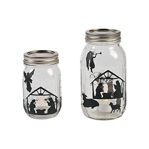 Fun Express Christmas Holiday Nativity Mason Jar Decal Sticker Set - 24 Sheets
