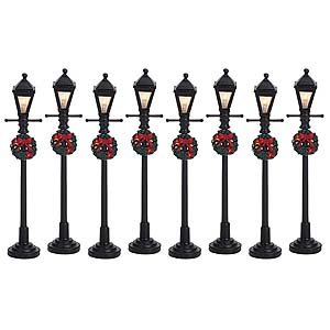 Lemax Village Collection Gas Lantern Street Lamp Set of 8 #64500