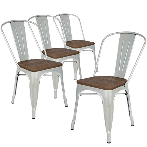 LCH Industrial Metal Retro Stackable Dining Chairs, Set of 4 Indoor/Outdoor Rustic Bistro Cafe Chairs with Wood Seat and Back, 500LB Limit, Silver