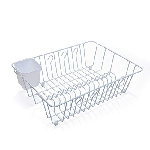 White Wire Frame - Smart Design Dish Drainer Rack w/ Cutlery Cup & Plate Dividers - Large - Steel Wire Frame - for Dishes, Cups, Silverware Organization - Kitchen (17.5 x 5.5 Inch) [White]