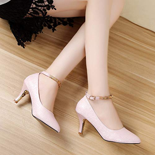 Cheville Escarpins Aiguille Cm Sexy Talon Osyard 7 Boucle Femme Chaussures Bride Soiree Club Rose wIxEYYUBq