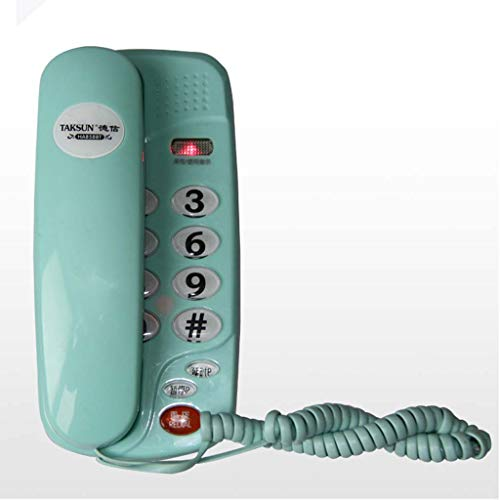 Qdid Wall-Mounted Telephone Corded Telephone Wired Telephone Mute Phone Ringtones Adjustable for Office Hotel (Color : Green)