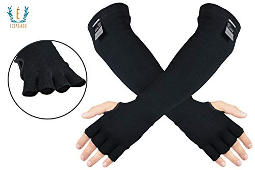 100% Kevlar Arm Sleeves- Cut, Scratch & Heat Resistant Arm Sleeve with Finger Opening & Thumb Holes- Arm Safety Sleeves- Long Arm Protectors- Flexible & Washable- 18 Inches, Black, 1 Pair ()