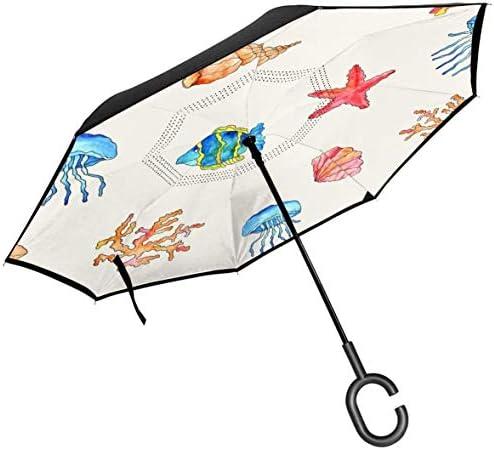クラゲの殻と魚 ユニセックス二重層防水ストレート傘車逆折りたたみ傘C形ハンドル付き