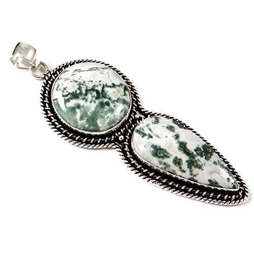 GoyalCrafts Tree Moss Agate Pendant Silver Plated Jewelry Natural Gemstone GPU01