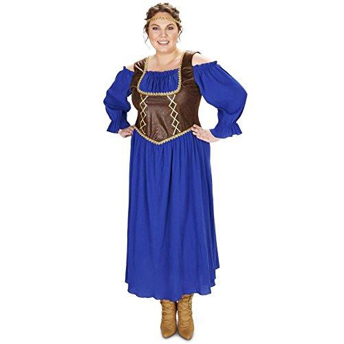 [Renaissance Corset Purple Peasant Dress Adult Plus Costume 1X] (Peasant Halloween Costumes)