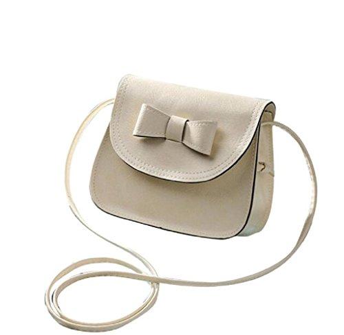 Covermason Damen Bowknot Handtaschen Schultertaschen Einzel-Umhängetasche Telefon Tasche Münzen Beutel Beige yetZu0S9u3