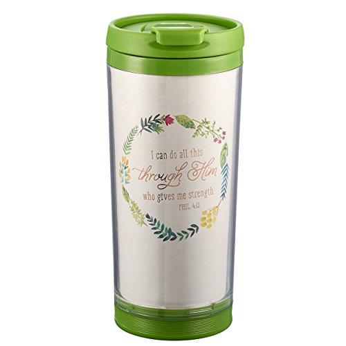 I Can Do All This Through Him 9 oz Insulated Break Resistant Polymer Travel Coffee Mug Tumbler with Design Wrap, Pop-Open Lid in Green - Philippians 4:13