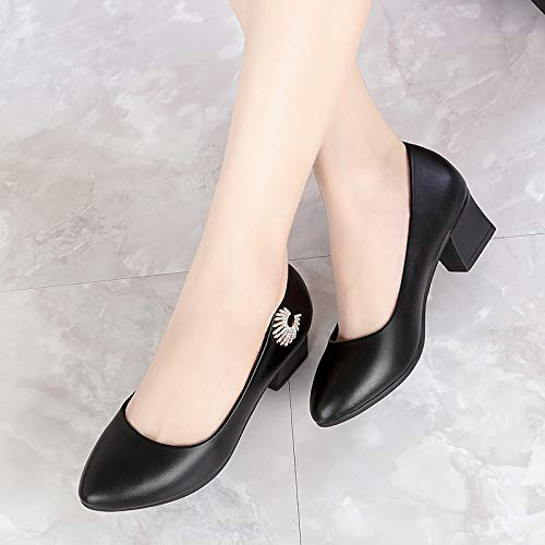 Bottom Thirty Joker Soft Middle Five Aged Heels Ladies Shoes Heels Black Shoes Leather Shallow KPHY Middle Comfort 7Rf6wBwq