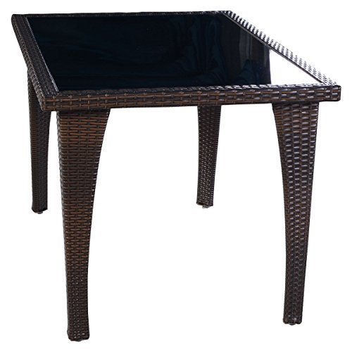 Brown Patio Furniture Outdoor Garden Dining Rattan Wicker Coffee Table, Made of Rattan Wicker and Iron Frame, Lightweight Yet Durable and Stable Construction, Assembly Required