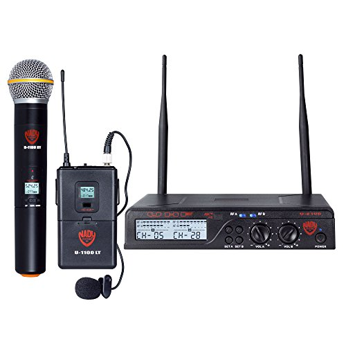 Nady U-2100 Dual Combo HT-LT 200-Channel UHF Wireless Handheld and Lavalier Microphone System ()