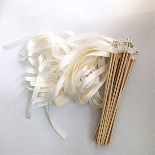 50pcs Antique White Ribbon Wedding Wands Twirling Streamers Wedding Ribbon Stick for Wedding Decoration