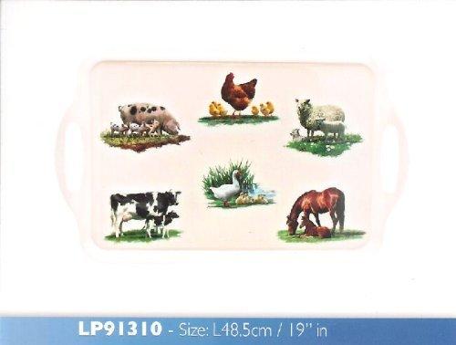 Macneil Tasse solithé Motif animaux de la ferme 48 cm LP91310 Leonardo Plateau à cake en mélamine