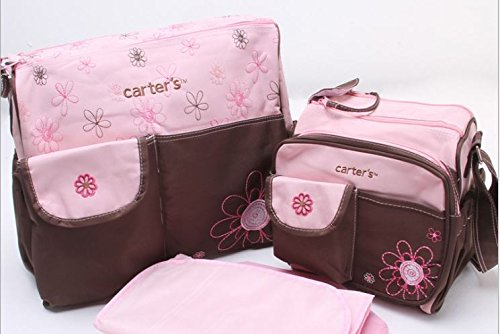 3 PCS Embroidered Mummy Baby Nappy Diaper Changing Maternity Hospital Bag Set by Babyhugs - Pink