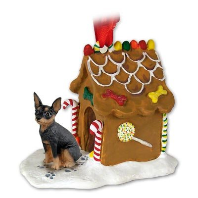Eyedeal Figurines Miniature Pincher Dog Mini Pin Black and Tan New Resin Gingerbread House Christmas Ornament 57A