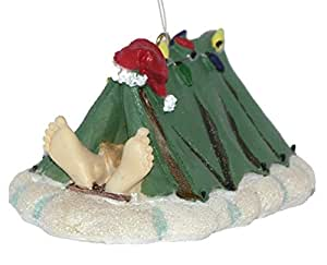 Santa Camping in a Tent Christmas Ornament