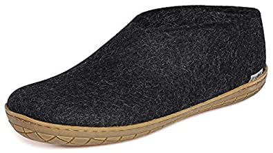 Glerups Womens AR-02-39 Felt Shoes with Rubber Sole Black Size: 17-17.5 Women/14-14.5 Men
