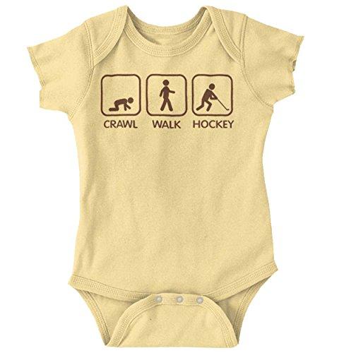 Crawl Walk Hockey Funny Shirt | Cute Baby Gift Sports Canada Romper Bodysuit