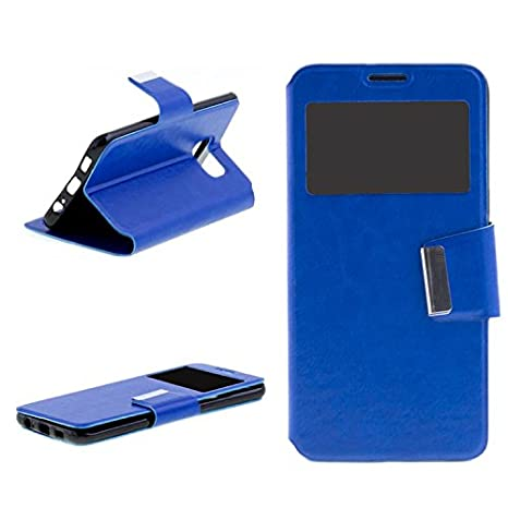 8aaa3d8a211 Vahalla Accesorios Funda para Samsung Galaxy S6 edge + Cartera Ventana  Azul: Amazon.es: Electrónica