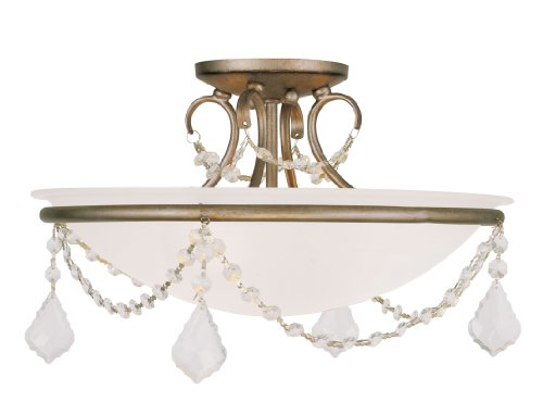 Livex Lighting 6524-73 Chesterfield/Pennington 3 Light Ceiling Mount, Hand Painted Antique Silver Leaf - Hand Painted Ceiling Light