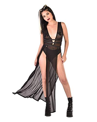 (iHeartRaves Black Sinfully Sheer Mesh Maxi Dress)