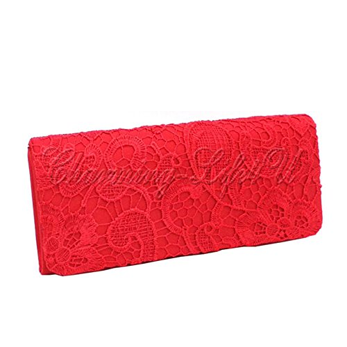 Fashion Brand to Shoulder BRIDAL Prom Clutch Bag Red Lace 2 Colors Wocharm Evening Many Choose PARTY Bags Handbag New Clutches WEDDING Wonderful qwAndxU6xC