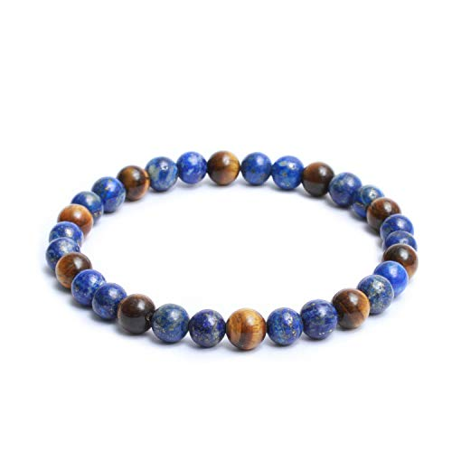Natural Semi Precious Gemstones Casual Plain Two Tone 8mm Beaded Link Stretch Mens Bracelet - Glossy Yellow & Blue