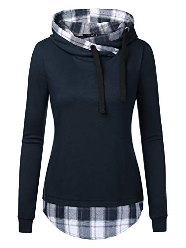 DJT Women's Funnel Neck Check Contrast Pullover Hoodie Top Medium Navy - Tee Neck Funnel