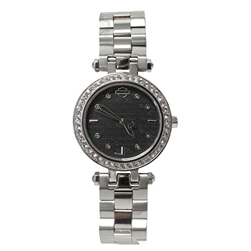 Harley-Davidson Women's Bulova Watch, Embellished Silver Stainless Steel 76L177