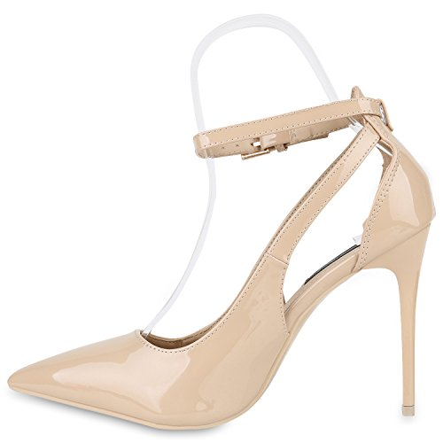 Stiefelparadies Spitze Damen Pumps Stiletto High Heels Metallic Schuhe Lack Absatzschuhe Elegante Abendschuhe Abiball Flandell Beige Brooklyn