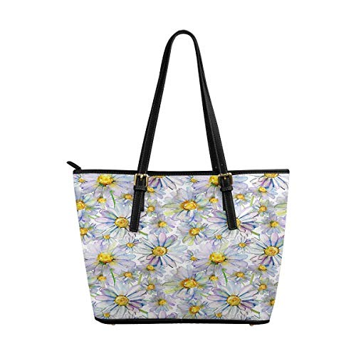 InterestPrint Tote Bags Zippered Tote for Women Overnight HandBags Watercolor Pattern with Daisy -