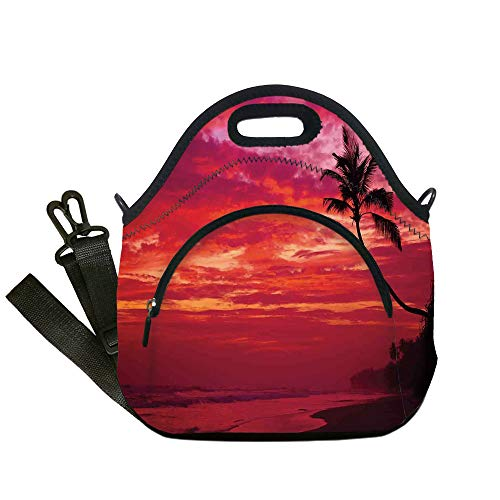 Insulated Lunch Bag,Neoprene Lunch Tote Bags,Ocean,Sunset View from a Tropical Island Beach with Silhouette of Palm Tree on the Shore Art Print,Red,for Adults and children