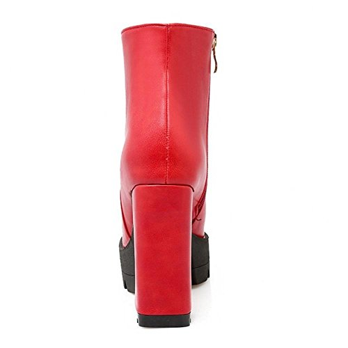 Shoes Platform Heel Red Women TAOFFEN Chunky High Western Boots 1wqPOqB0