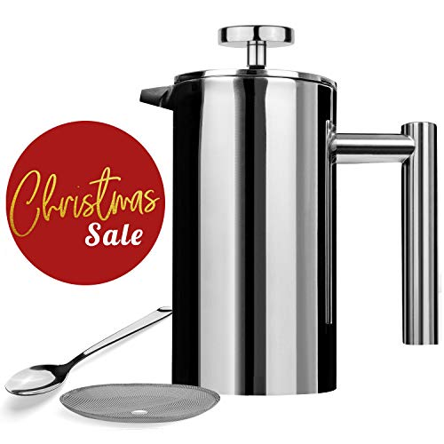 AMOVEE French Press Coffee Maker Tea Maker, 304 Stainless Steel Double Insulation, with Espresso Spoon and Bonus Screen (350ML, 12 oz)