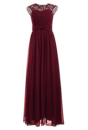 Ssyiz Custom Women's Vintage Floral Lace Cap Sleeve Long Chiffon Bridesmaid Evening Dress (8