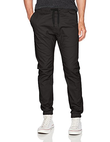 WT02 Men's Jogger Pants in Basic Solid Colors and Stretch Twill Fabric, Black(New), (Stretch Twill)