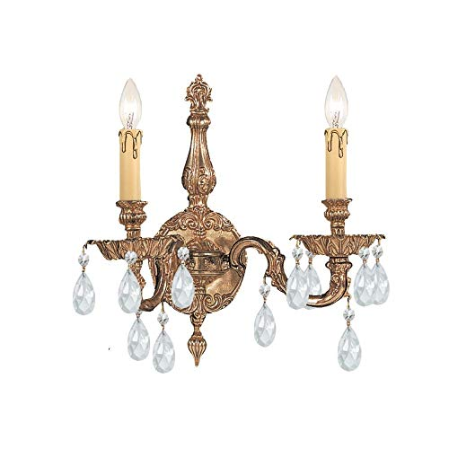 Crystorama 2502-OB-CL-MWP Crystal Accents Two Light Wall Sconce from Cortland collection in Brassfinish, 6.50 inches (Cortland Collection)
