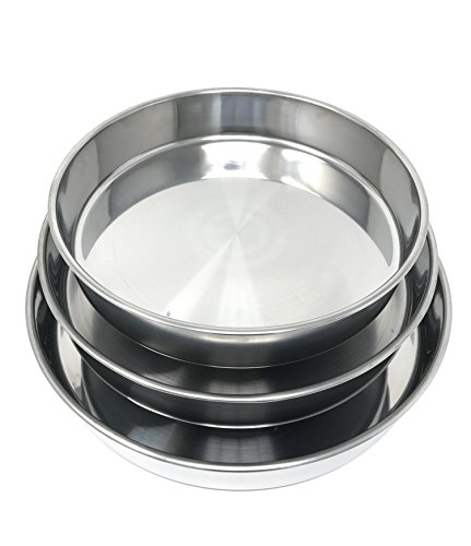 Concord Cookware 3-Piece Stainless Steel Cake Baking Pan, 11 by 12 by 14-Inch